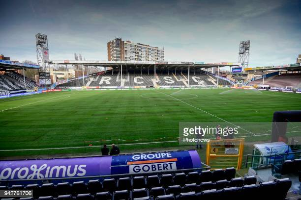General stadium view with the new lawn during the Jupiler Pro League Play Off 1 match between Sporting Charleroi and RSC Anderlecht at the Stade du...