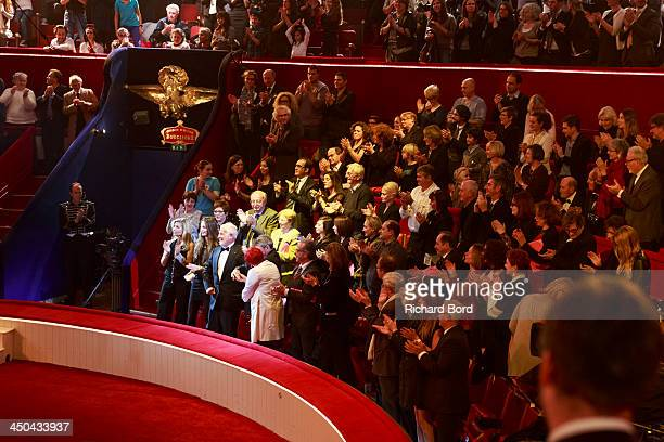 A general standing ovation is made for JeanPaul Belmondo during the 52nd 'Gala de l'Union des Artistes' at Le Cirque d'Hiver on November 18 2013 in...