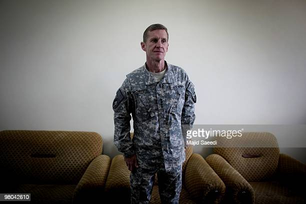 General Stanley A McChrystal Commander US Forces Afghanistan before inspecting an Afghan National Army guard of honor during a ceremony on March 25...