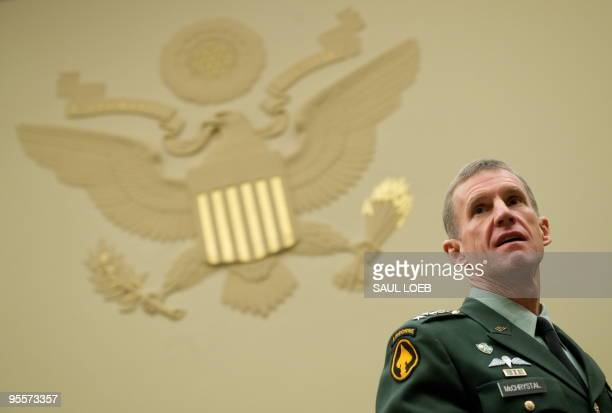 US General Stanley McChrystal commander of the International Security Assistance Force and commander of United States Forces Afghanistan arrives to...