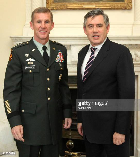 General Stanley McChrystal Commander of US Forces in Afghanistan meets Prime Minister Gordon Brown at 10 Downing Street on October 1 2009 in London...