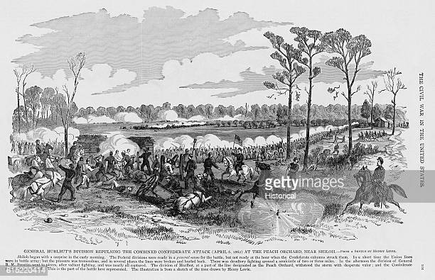 General Stephen Augustus Hurlbut leads the Fourth Division Army of the Tennessee at the Peach Orchard on April 6 during the Shiloh Campaign