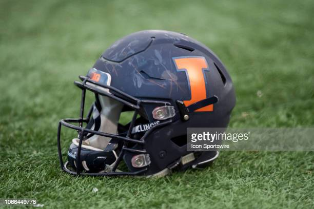 A general stock view of an Illinois Fighting Illini helmet during a game between the Illinois Fighting Illini and the Northwestern Wildcats on...