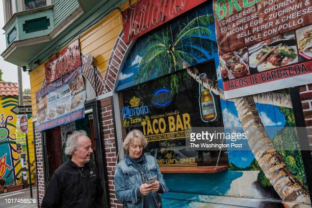 A general street scene in the colorful Mission District of San Francisco