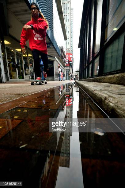 General street scene showing a slice of life on a Center City sidewalk in Philadelphia PA on September 11 2018