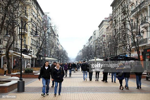 General street view on January 31 2016 in Sofia Bulgaria