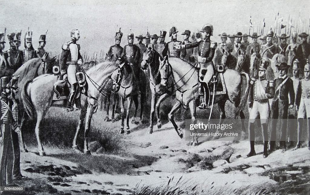 General Sucre after the victory at the Battle of Ayacucho, during the Peruvian War of Independence : News Photo