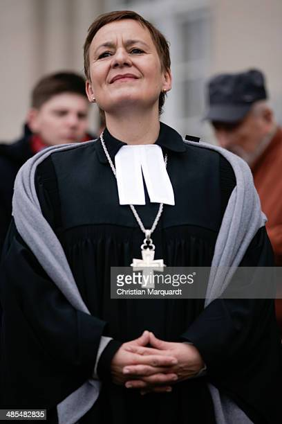 General superintendent of the Protestant church Ulrike Trautwein is seen during the ecumenical Good Friday procession on April 18 2014 in Berlin...