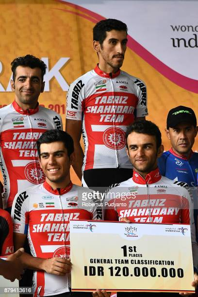 General Team Classification winners Tabriz Shahrdary Team Iran in the Tour de Singkarak 2017 on November 26 2017 in Bukittinggi Indonesia