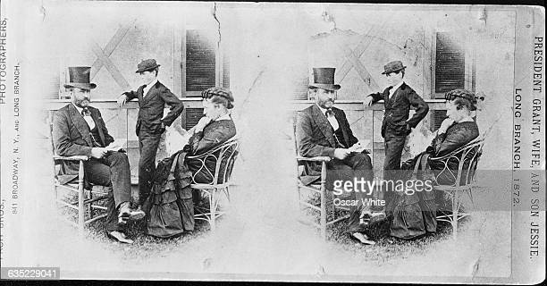General Ulysses S Grant President of the United States sits with his First Lady and their son Jesse in Long Branch in 1872