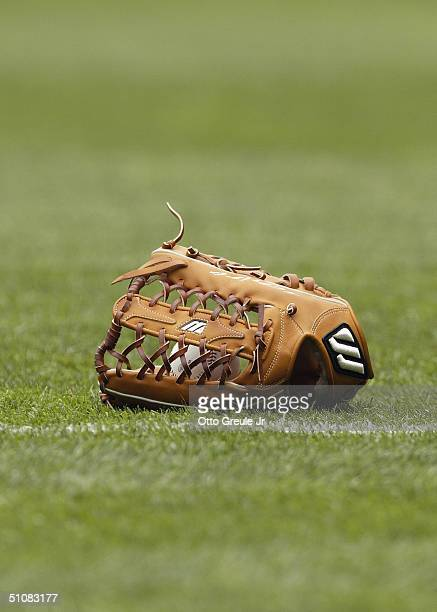 A general veiw of a glove on the field taken during the game between the Seattle Mariners ans the Texas Rangers on July 1 2004 at Safeco Field in...