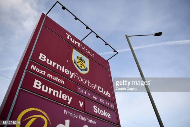 General veiw of a match day sign outside the stadium prior to the Premier League match between Burnley and Stoke City at Turf Moor on April 4 2017 in...