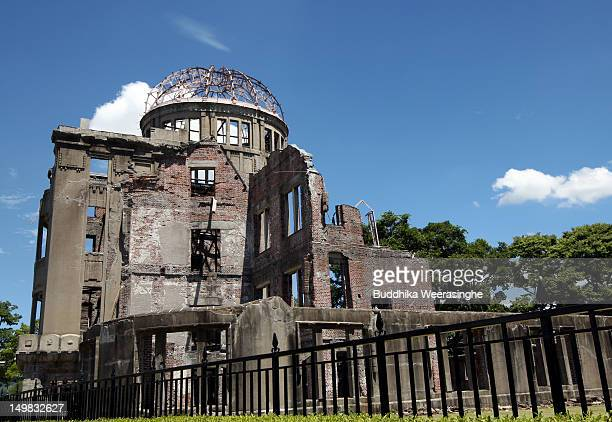A general veiw of Hiroshima Peace Memorial commonly called the Atomic Bomb Dome at the Hiroshima Peace Memorial Park on August 5 2012 in Hiroshima...