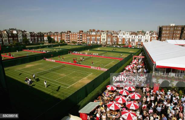 A general veiw of the back courts during the completion of the second round matches at the Stella Artois Tennis Championships at the Queen's Club...