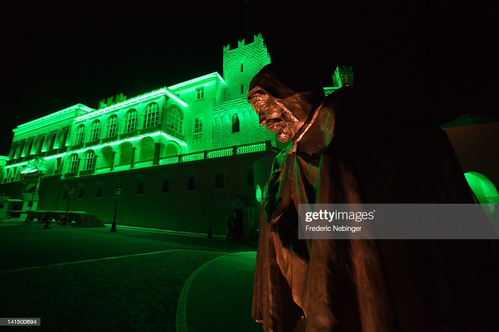 General vew of Monaco Palace illuminated in green For St Patrick's Day, at Monaco Palace on March 17, 2012 in Monaco, Monaco.
