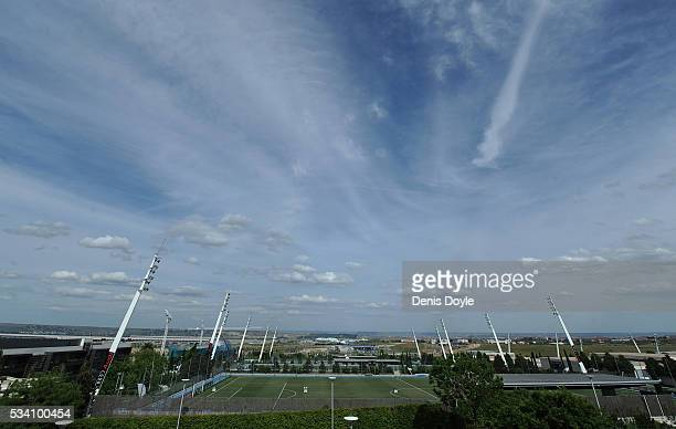General vew of the facilities at Real Madrid's Valdebebas Ciudad del Real Madrid training grounds on May 24, 2016 in Madrid, Spain. The facilities...