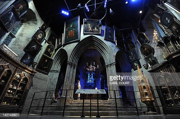 A general vew shows the headmaster's office at the Hogwarts School of Witchcraft and Wizardry during a preview of the Warner Bros Harry Potter studio...