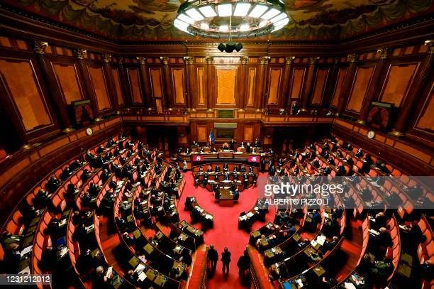 General vies shows the Senate as Italy's new Prime Minister Mario Draghi addresses the Senate on February 17, 2021 in Rome, before submitting his...