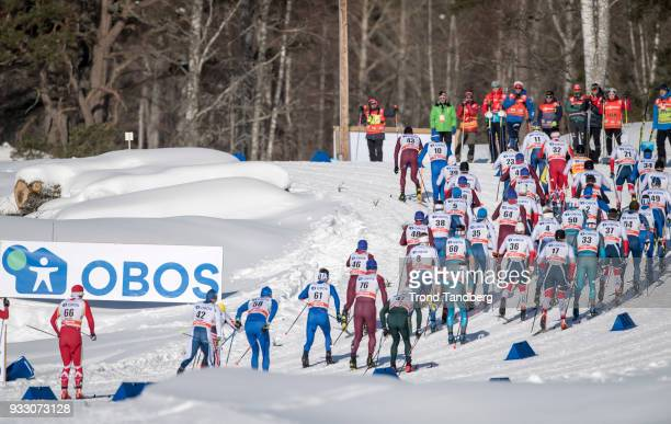 General view 15 km Men Mass Start Classic at Lugnet Stadium on March 17, 2018 in Falun, Sweden.