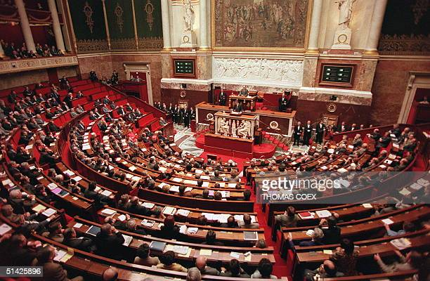 A general view 24 March as British Prime Minister Tony Blair addresses the French National Assembly during his one day visit to France