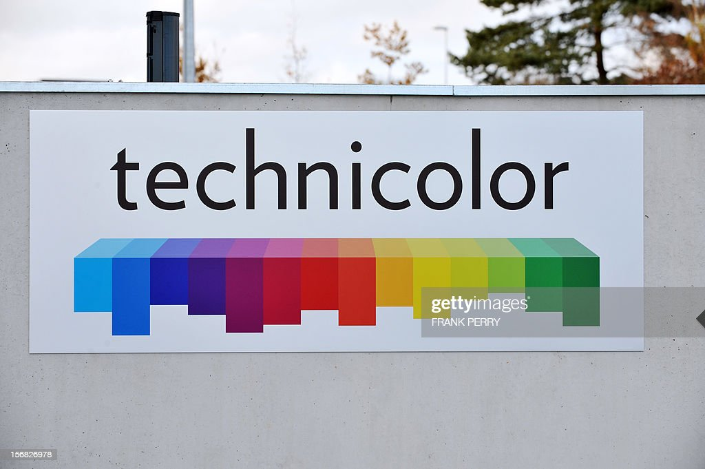 General view a logo at the entrance of the new Technicolor research and development centre inaugurated in Cesson-Sevigne, near the western city of Rennes, on November 22, 2012.