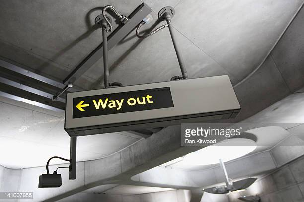 A general view a Way Out sign at an Underground station on February 28 2012 in London England London's underground rail system commonly called the...