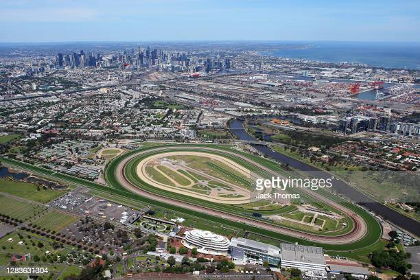 General view above of Flemington Racecourse with the City of Melbourne in the background during 2020 Lexus Melbourne Cup Day at Flemington Racecourse...