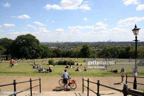 A general view across Alexandra Palace park as members of the public enjoy the hot weather on May 25 2020 in London England The British government...
