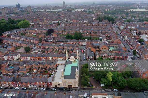 General view across Leicester's North Evington and Spinney Hills neighbourhood on July 09, 2020 in Leicester, England. Businesses in the city had to...