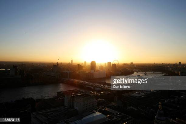 A general view across London at sunset from the Golden Gallery at St Paul's Cathedral towards the River Thames and West London on December 17 2012 in...