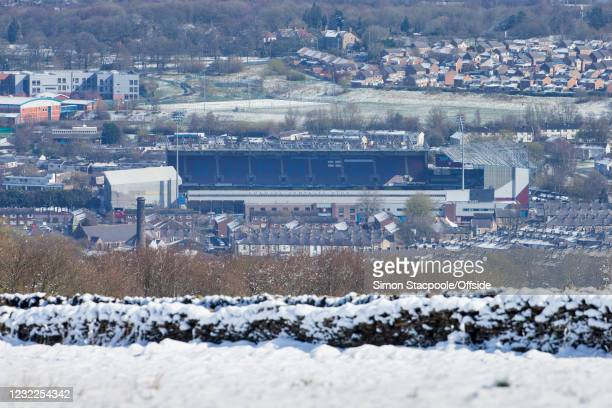 General view across snow-covered hills and rooftops before the Premier League match between Burnley and Newcastle United at Turf Moor on April 11,...