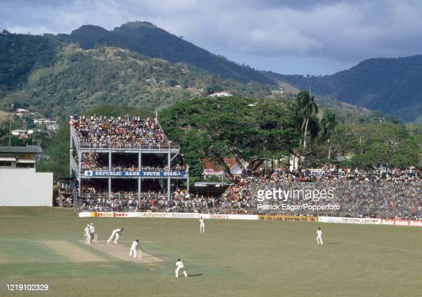 General view across the ground as Joel Garner of West Indies bowls to Allan Lamb of England during the 2nd One Day International between West Indies...