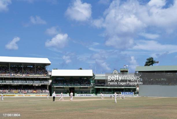General view across the ground as Phillip DeFreitas of England bowls to Carlisle Best of West Indies during the 4th Test match between West Indies...