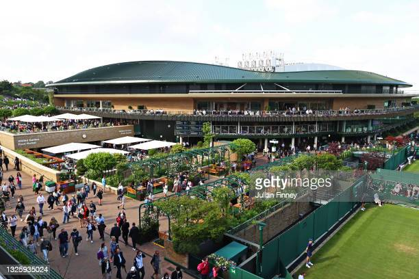 General view across the grounds of the recently refurbished Court 1 and it's roof during Day One of The Championships - Wimbledon 2021 at All England...