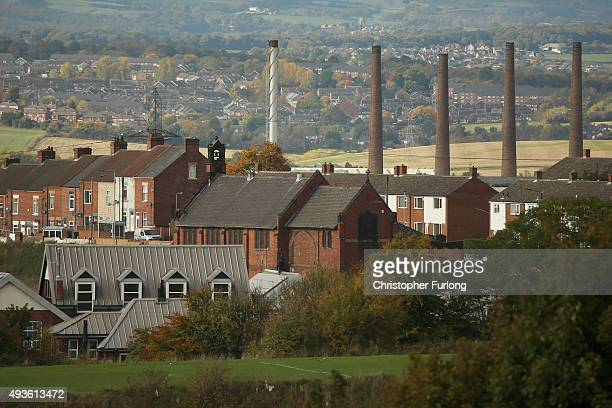 A general view across the skyline of Rotherham and the Tata Steel works on October 21 2015 in Rotherham England Up to 720 staff are facing redundancy...