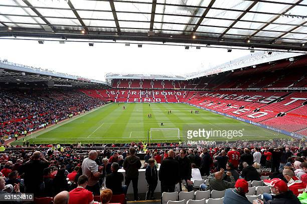 A general view after fans were evacuated from the ground prior to the Barclays Premier League match between Manchester United and AFC Bournemouth at...