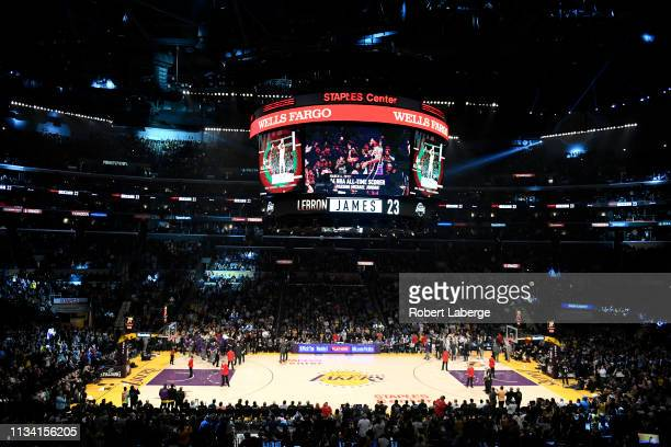 A general view after LeBron James of the Los Angeles Lakers scored to pass Michael Jordan and move to on the NBA's alltime scoring list during the...