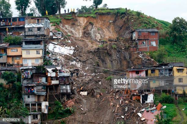 TOPSHOT General view after mudslides in Manizales Caldas department Colombia on April 19 2017 Flooding and mudslides in central Colombia have killed...