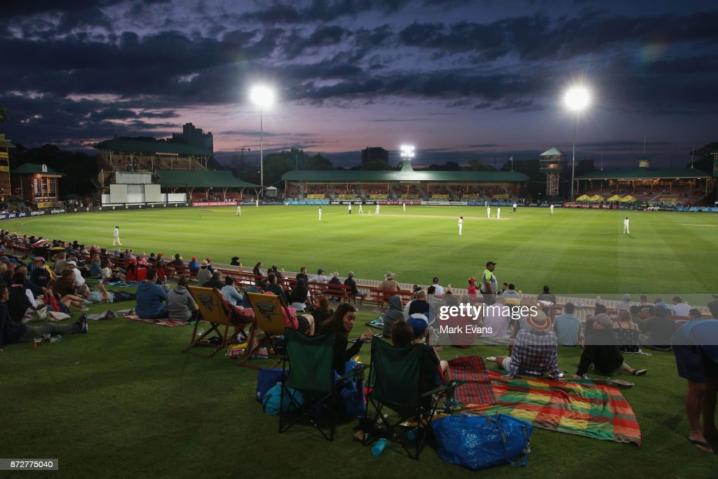 A general view after sunset during day three of the Women's Test match between Australia and England at North Sydney Oval on November 11, 2017 in Sydney, Australia.