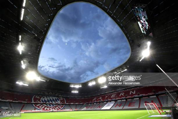 General view after the Bundesliga match between FC Bayern Muenchen and Borussia Moenchengladbach at Allianz Arena on June 13, 2020 in Munich, Germany.