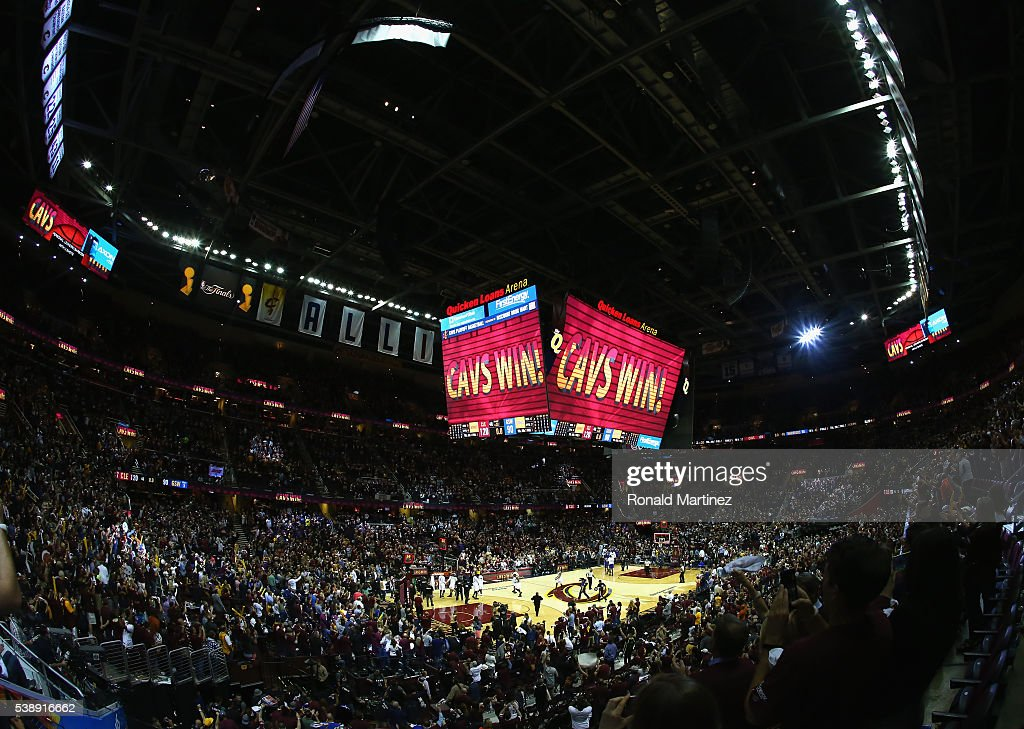 A general view after the Cleveland Cavaliers defeated the Golden State Warriors 120-90 in Game 3 of the 2016 NBA Finals at Quicken Loans Arena on June 8, 2016 in Cleveland, Ohio.