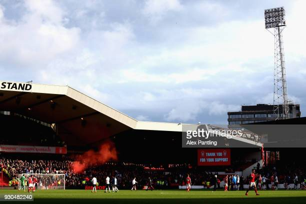 General view after the full time whistle during the Sky Bet Championship match between Nottingham Forest and Derby County at City Ground on March 11,...