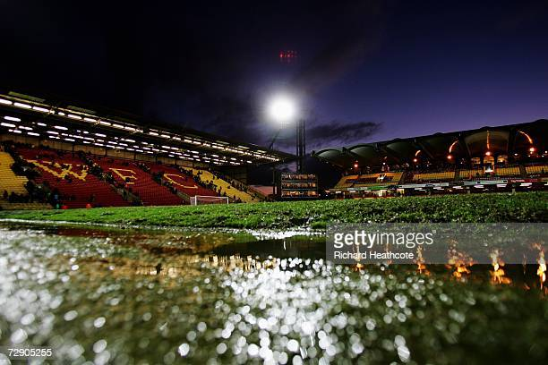 A general view after the game was called off to adverse weather conditions during the Barclays Premiership match between Watford and Wigan Athletic...