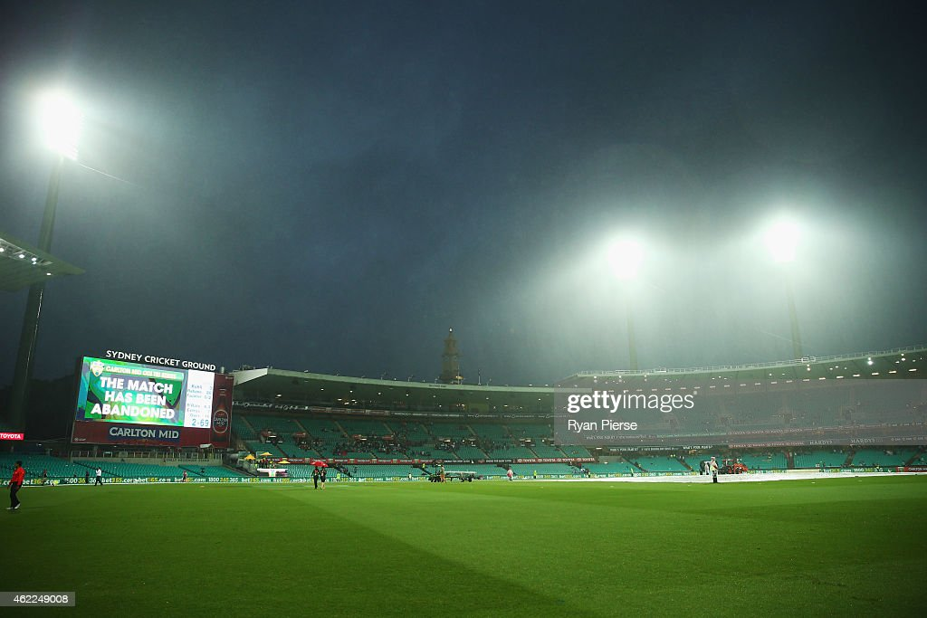 A general view after the match was abandoned due to rain during the One Day International match between Australia and India at Sydney Cricket Ground on January 26, 2015 in Sydney, Australia.
