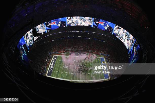 General view after the New England Patriots defeat the Los Angeles Rams 13-3 during Super Bowl LIII at Mercedes-Benz Stadium on February 3, 2019 in...