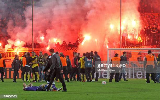 General view after the Second Bundesliga playoff second leg match between SG Dynamo Dresden and VFL Osnabrueck at GluecksgasStadion on May 28 2013 in...