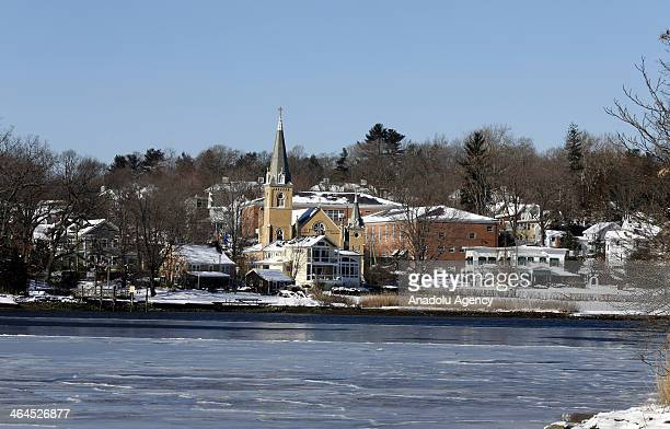 A general view after the winter storm Janus Connecticut United States January 22 2014 Janus left 4 deaths and dropped over 30cm snow in northeastern...