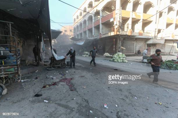 General view aftermath of the air strikes on Douma city at least 23 people got killed today 12 of them in Douma The town of Douma in the outskirt of...