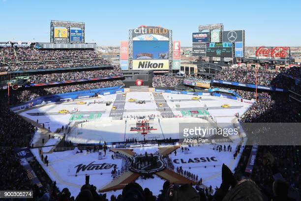 A general view ahead of the 2018 Bridgestone NHL Winter Classic at Citi Field on January 1 2018 in the Flushing neighborhood of the Queens borough of...