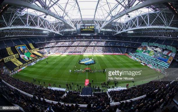 General view ahead of the Allsvenskan match between AIK and Hammarby IF at Friends arena on April 17 2017 in Solna Sweden